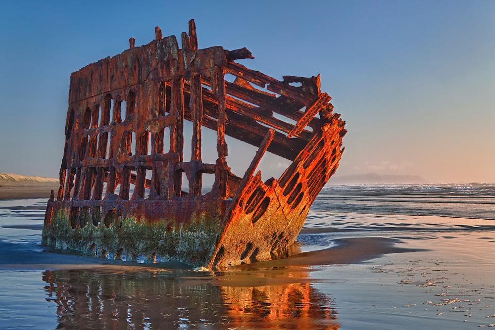 Peter Iredale Shipwreck - Sunset - Oregon Coast - HDR