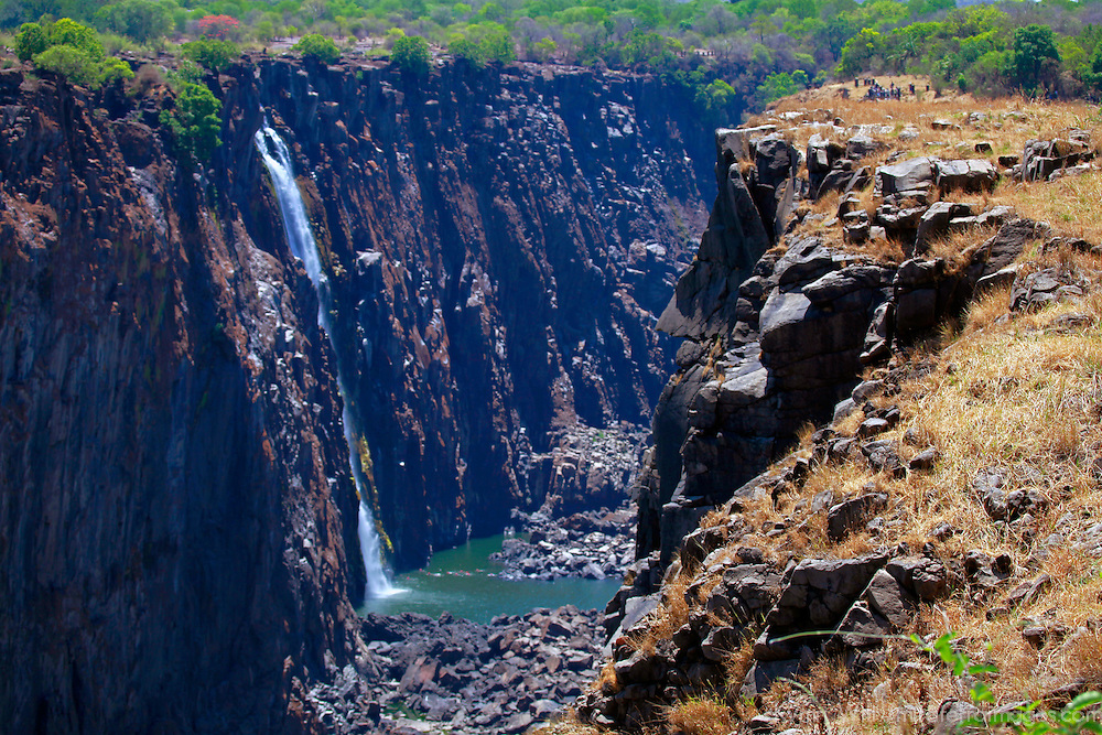 Africa, Zimbabwe, Victoria Falls. Victoria Falls, The Smoke that Thunders, a UNESCO World Heritage Site.