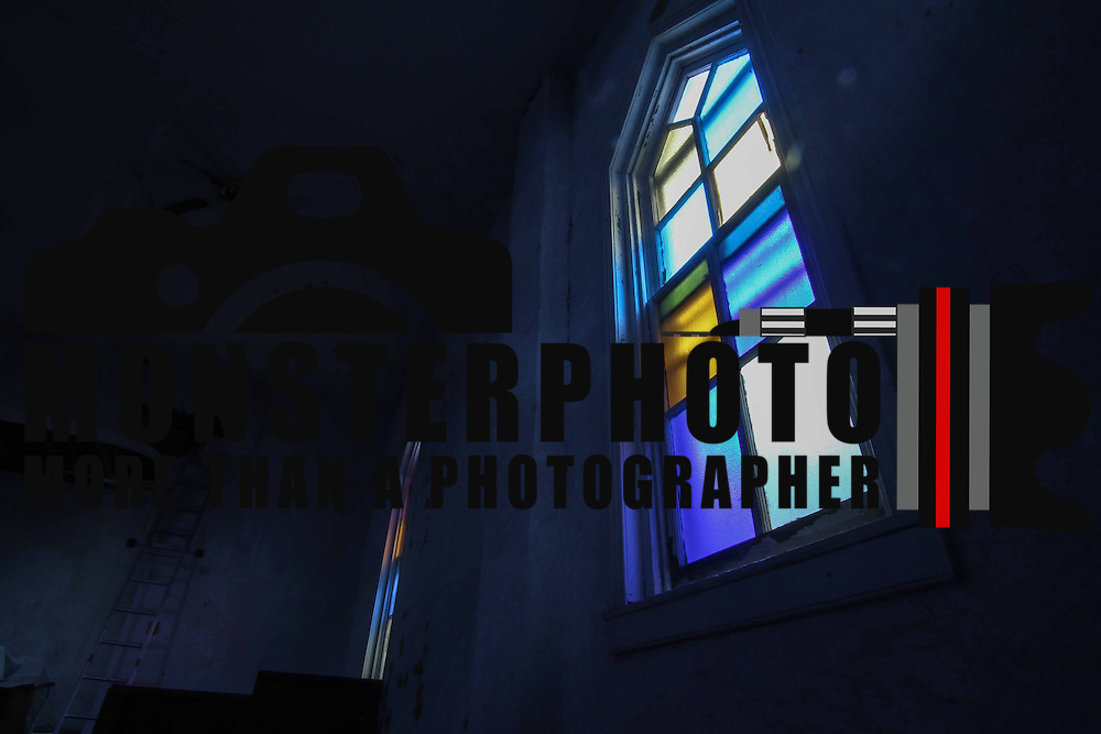 Stained glass windows seen from the interior of the historical African American Mount Salem Church taken Saturday, Sept 12, 2015, at Mount Salem Church in Old New Castle, DE.