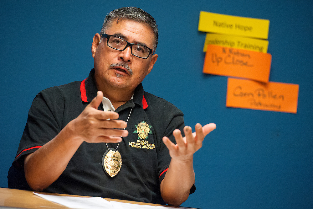 111313    Brian Leddy<br /> Sgt. Stanley Ashely speaks during a meeting on sex offenders on the Navajo Nation.