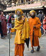 "Hindu holy men (sadhus), in Kathmandu, Nepal, Asia. Published in ""Light Travel: Photography on the Go"" book by Tom Dempsey 2009, 2010."