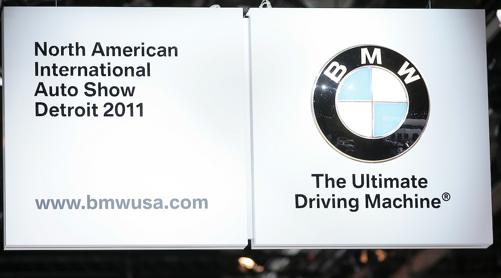 GR --- Detroit, Michigan ---11-01-10--- The BMW logo on display at the company's booth at the North American International Auto Show in Detroit, Michigan January 10, 2011.<br /> Geoff Robins AFP