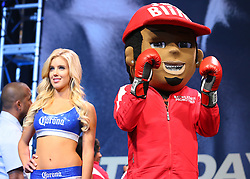 LAS VEGAS, NV - MAY 2: A mascot and a Corona girl at the MGM Grand Garden Arena on May 2, 2014 in Las Vegas, Nevada. (Photo by Ed Mulholland/Golden Boy/Golden Boy via Getty Images) *** Local Caption ***Floyd Mayweather; Marcos Maidana