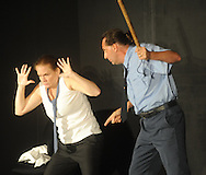 Clara Le Arnold (left) and Christopher Schager rehearse the play Clandestine as part of the Ten Minute Plays in Oxford, Miss.  on Tuesday, September 20, 2011.