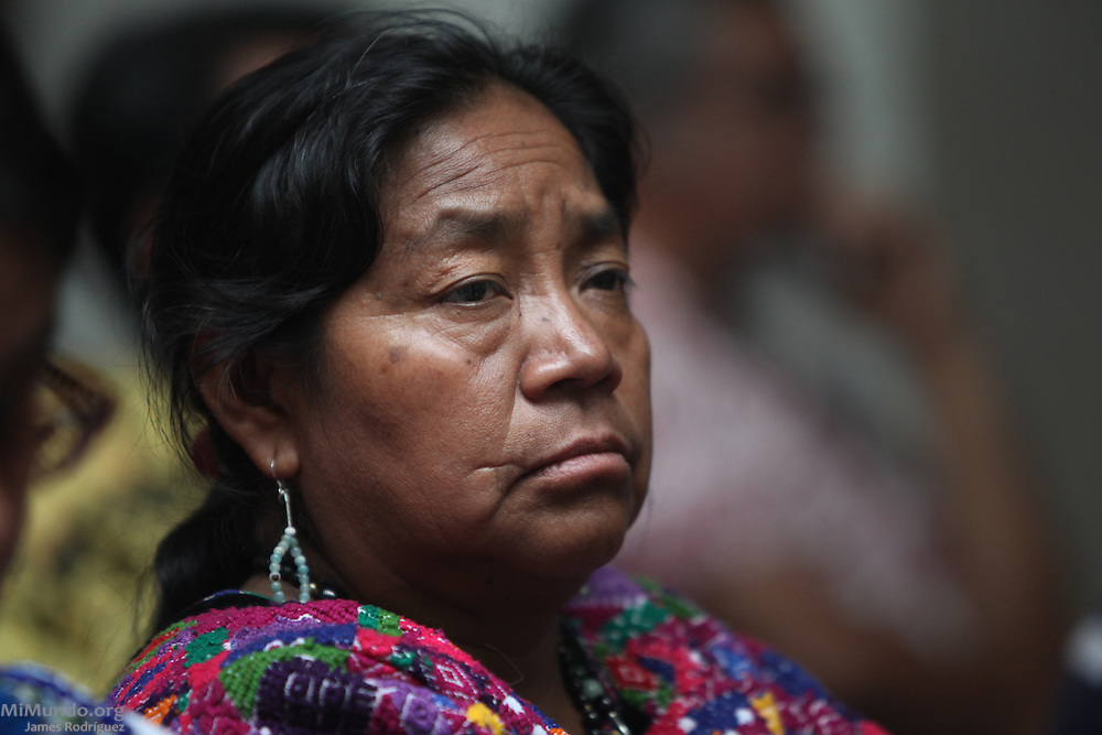 Rosalina Tuyuc, former congresswoman and founder of the National Coordination for Guatemalan Widows (CONAVIGUA) listens in the courtroom inside Guatemala's Supreme Court of Justice on the day when the long awaited Genocide trial begins against former de facto dictator Efraín Ríos Montt and his head of Intelligence Jose Mauricio Rodriguez Sanchez. Guatemala, Guatemala. March 19, 2013.