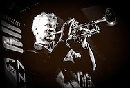 Michael Supnick playing the trumpet on the TramJazz in Rome.