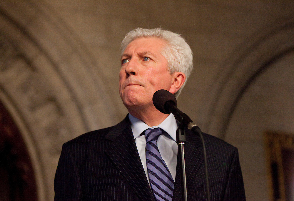 Block Quebecois leader Gilles Duceppe speaks to the media at a press conference in the foyer of the House of Commons in Ottawa, Canada following the fall of the Conservative government in a non confidence vote March 25, 2011. Canadians will be heading to the polls in May<br /> AFP/GEOFF ROBINS/STR