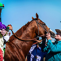 APRIL 5, 2014: California Chrome, ridden by Victor Espinoza, is greeted by owner Steve Coburn after winning the Santa Anita Derby at Santa Anita Park in Arcadia CA. Alex Evers/ESW/CSM