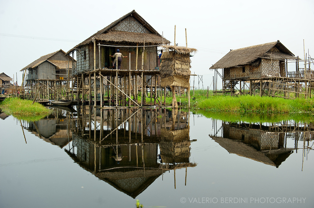 Stilt houses are the typical dwelling used in villages built on the calm waters of the Inle Lake's shores.