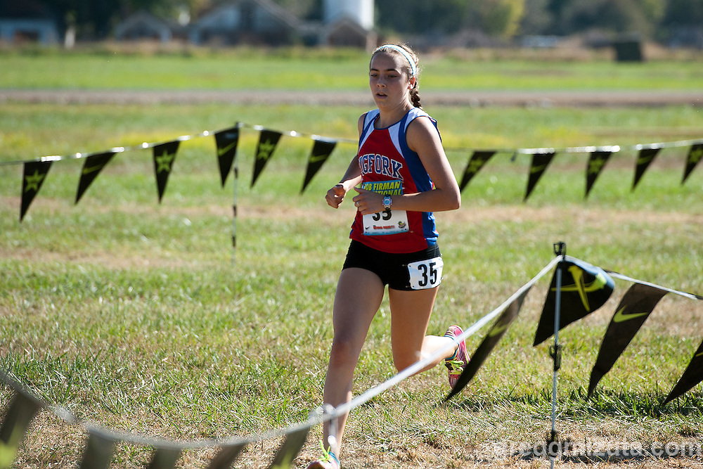 Bigfork sophomore Bryn Morley goes out fast during the Bob Firman Invitational Elite race, September 26, 2015, Eagle Island State Park, Boise, Idaho. Morley finished fourth with a time of 18:11.47.