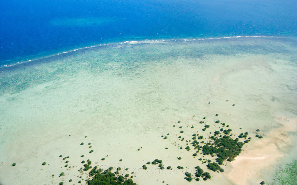 Aerial view of tropical islands in Honda Bay, off the coast of Palawan, Philippines