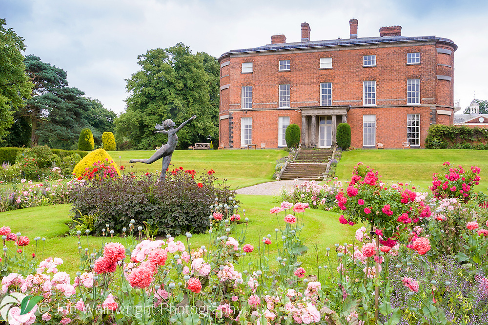 A delicately poised statue of a wood nymph rises above the roses and dahlias in the Rose Garden at Rode Hall, Cheshire.  The section of Rode Hall, pictured, was built in 1752.