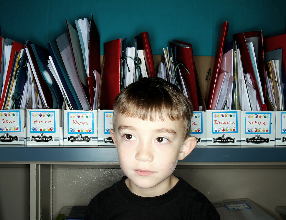 Hunter Sonalia. Casey Brennan's kindergarten class at Hopkins Elementary School in Sherwood on Wednesday, May 23, 2012.