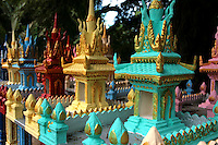 A spirit house is a shrine to animist spirits found in the Southeast Asian countries of Cambodia and Thailand. Most houses and businesses have a spirit house placed in an auspicious spot, most often in a corner of the property. The spirit house is normally in the form of a miniature temple and is mounted on a pillar or on a dais.<br /> The house is intended to provide a shelter for spirits which could cause problems for the occupants of the main house if not appeased. Offerings are left at the house to propitiate these spirits.