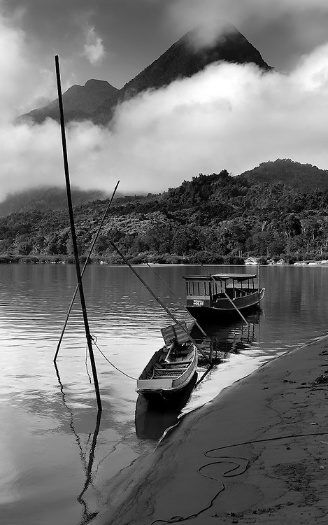 Boats on the Nam Ou (river), Laos.