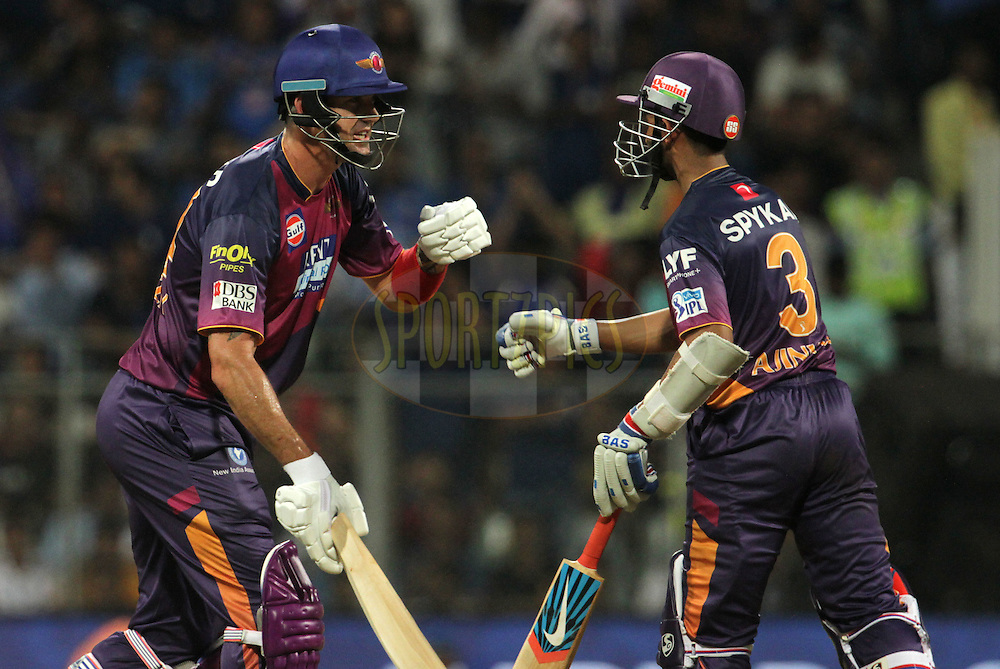 Rising Pune Supergiants player Kevin Pietersen congratulates Rising Pune Supergiants player Ajinkya Rahane for scoring a fifty during match 1 of the Vivo Indian Premier League ( IPL ) 2016 between the Mumbai Indians and the Rising Pune Supergiants held at the Wankhede Stadium in Mumbai on the 9th April 2016<br /> <br /> Photo by Vipin Pawar/ IPL/ SPORTZPICS