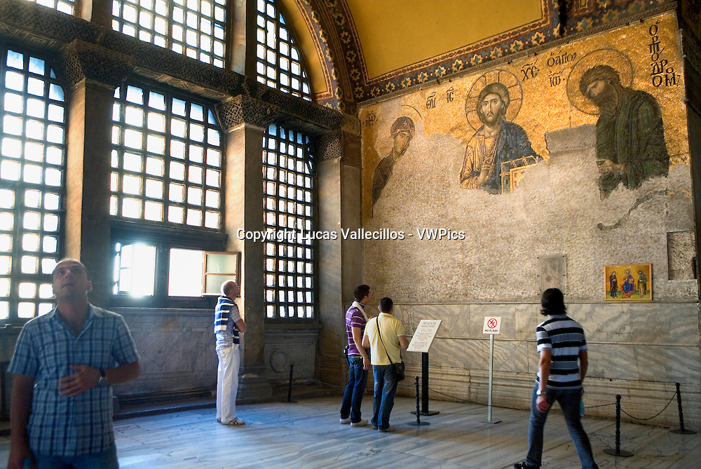 Hagia Sophia. Deesis mosaic. Byzantine mosaic and tourists. Istanbul. Turkey