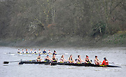 London, Great Britain,  Cardiff University  BC, A, rowing past Chiswick Pier, during the 2012 Head of the River Race, raced over Rowing Course Championship course,  Mortlake to Putney  4.25 Miles, on the River Thames Saturday  03/03/2012 [Mandatory Credit: © Peter Spurrier/Intersport Images]