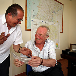 British journalist Robert Fisk visits with longtime source and friend Hassan Siklawi, assistant to the senior adviser with the United Nations Interim Force in Lebanon, UNIFIL, at the organization's headquarters in Beirut, Lebanon on March 25, 2008. His new book is The Age of the Warrior: Selected Essays by Robert Fisk, a collection of his Saturday columns for the British newspaper The Independent.