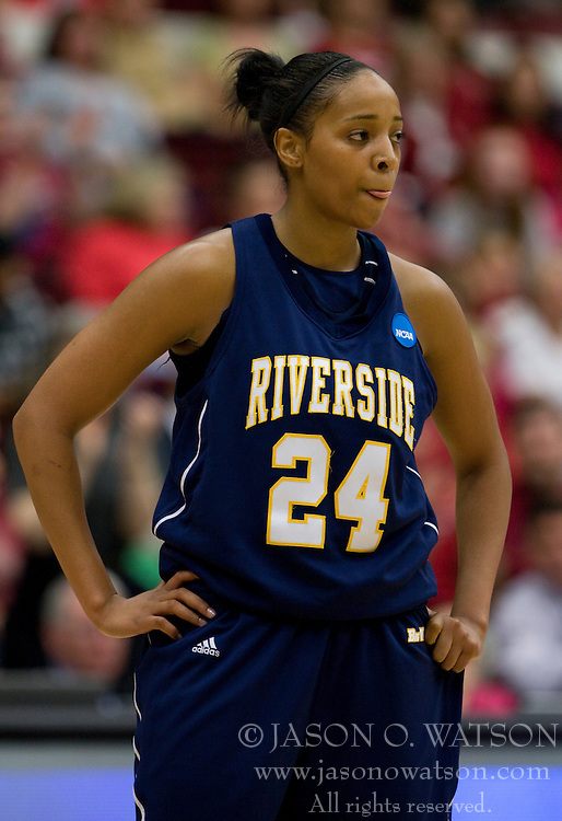 March 20, 2010; Stanford, CA, USA; UC Riverside Highlanders forward Rhaya Neabors (24) during the second half against the Stanford Cardinal in the first round of the 2010 NCAA womens basketball tournament at Maples Pavilion.  Stanford defeated UC Riverside 79-47.
