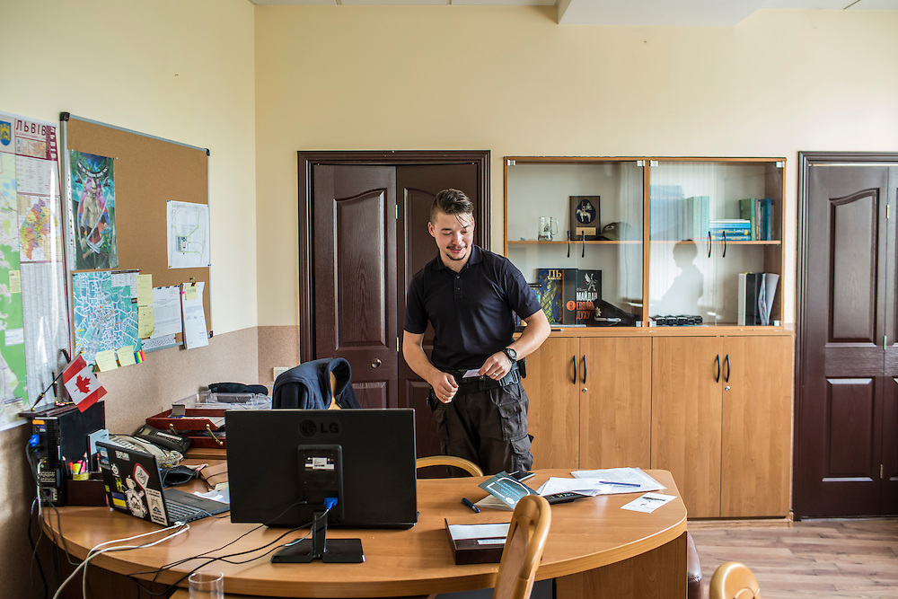 LVIV, UKRAINE - SEPTEMBER 15, 2015: Yuri Zozulya, 26, chief of the new Lviv police, during an interview in his office in Lviv, Ukraine. In an effort to reform the notoriously corrupt Ukrainian police force, an entirely new force has been established in several cities, including Kiev and Lviv, with a primary focus on patrolling the streets. CREDIT: Brendan Hoffman for The New York Times