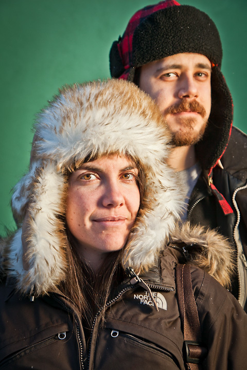 Cari Simon and Nathan Harvey outside the City Market, South Addition, Anchorage