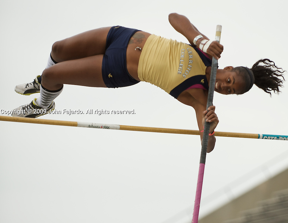 Aundrea Stovall competes in the womens pole vault at the California Relays held at Cerritos College, Norwalk CA, Saturday March 21, 2009.