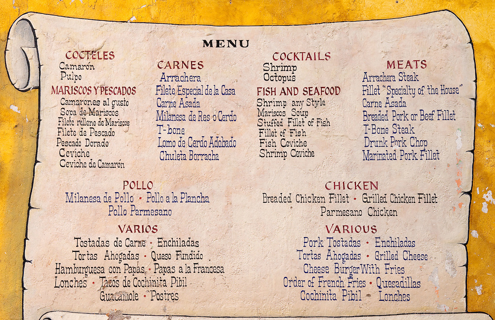 Spanish Restaurants Menu Menu in Spanish And English on