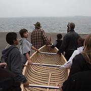Wayne Valliere (Mino-giizhig in Ojibwe), of the Lac du Flambeau band of Lake Superior Chippewa. Birch Bark Canoe Launch at Lake Mendota, Memorial Union, University of Wisconsin-Madison. For more information visit http://goo.gl/3C2KVm