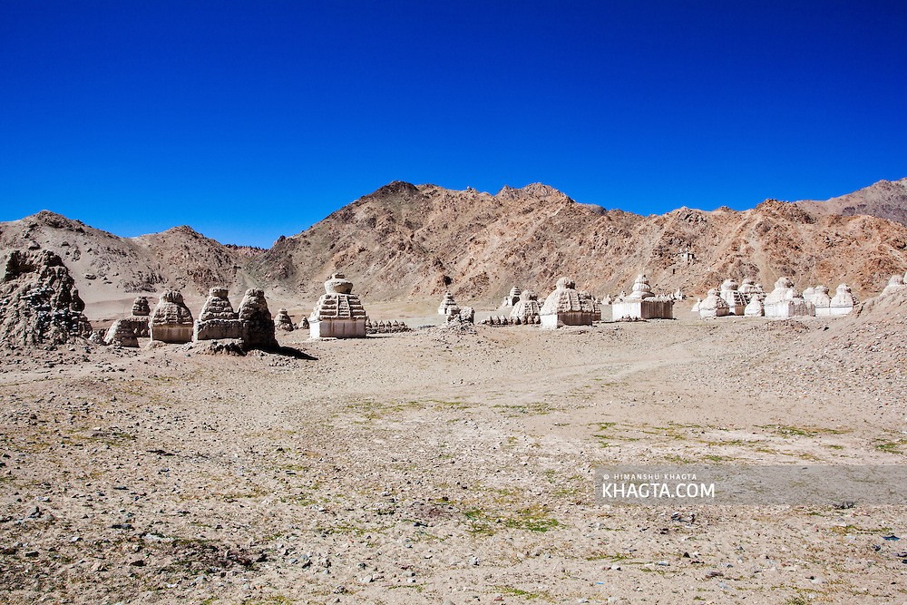 Chortens in Shey, Ladakh. Shey was the ancient capital of Ladakh, a Himalayan desert region in the North of India