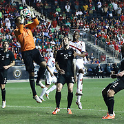 Republic of Ireland Goalkeepers David Forde (1) attempts to make a save in the second half of the inaugural freedom cup match between Ireland and Costa Rica Friday. June. 6, 2014 at PPL Park in Chester PA.