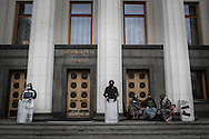 Anti-government protesters take control in the morning of the Rada building, the Ukrainian parliament, while an exceptional session is called today on February 22, 2014 in Kiev.