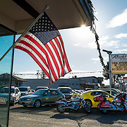 Saturday morning at the car lot, waiting for customers. Port Angeles, WA