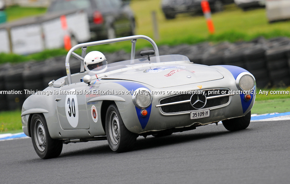 Ray Jones - Mercedes 190SL.Historic Motorsport Racing - Phillip Island Classic.18th March 2011.Phillip Island Racetrack, Phillip Island, Victoria.(C) Joel Strickland Photographics.Use information: This image is intended for Editorial use only (e.g. news or commentary, print or electronic). Any commercial or promotional use requires additional clearance.