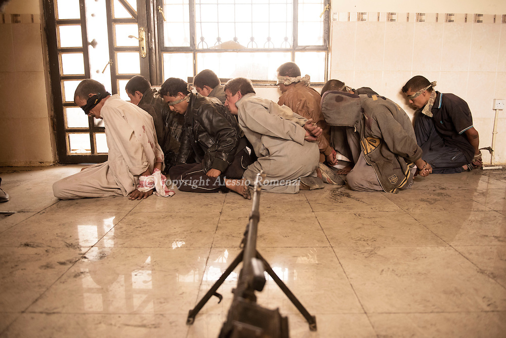 Iraq, Qayyara: on October 2016, nine men suspected of being Isis members, arrested by  &lsquo;Sons of Iraq&rsquo; Sunni militia near Qayyara.<br /> The militia argue that the nine men wanted to hide among the refugees to escape. Alessio Romenzi