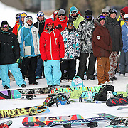 SHOT 12/17/10 3:50:39 PM - Snowboarders gather to watch qualifying for the Snowboard Slopestyle event during the Nike 6.0 Open stop of the Winter Dew Tour at Breckenridge Ski Resort in Breckenridge, Co. The event features ski and snowboard slopestyle and superpipe. (Photo by Marc Piscotty / © 2010)