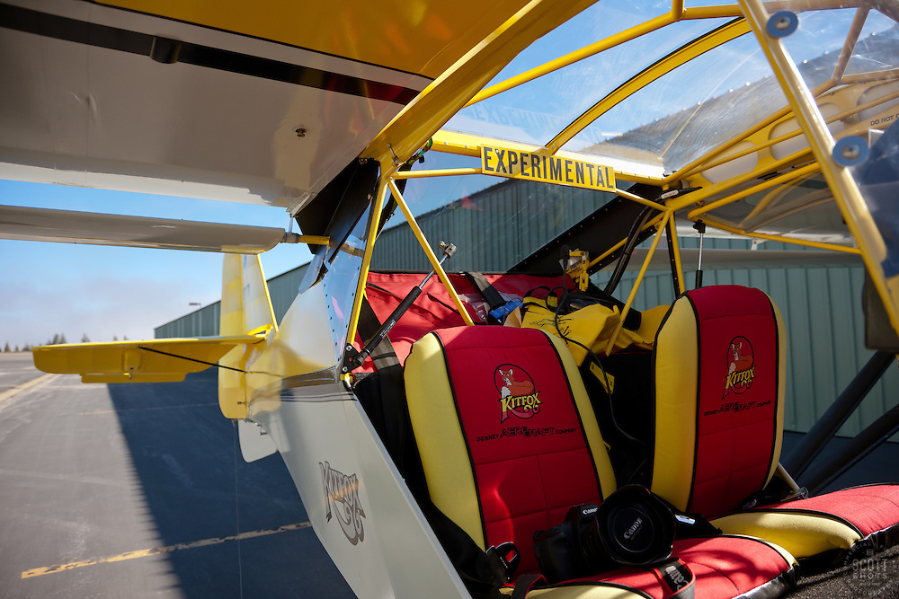 """""""Experimental Kitfox Amphibious Seaplane"""" - This amphibious seaplane was photographed at the Truckee Airport. One of Scott Thompson's cameras can be seen in the seat, shortly before takeoff."""