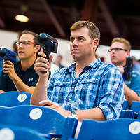 CLEARWATER, FL -- May 14, 2015 -- Former MLB and NFL player Drew Henson uses a radar gun to track the speed of a pitch as he scouts for the New York Yankees during a game between the Clearwater Threshers and the Charlotte Stone Crabs at Bright House Field in Clearwater, Florida. (PHOTO / CHIP LITHERLAND)