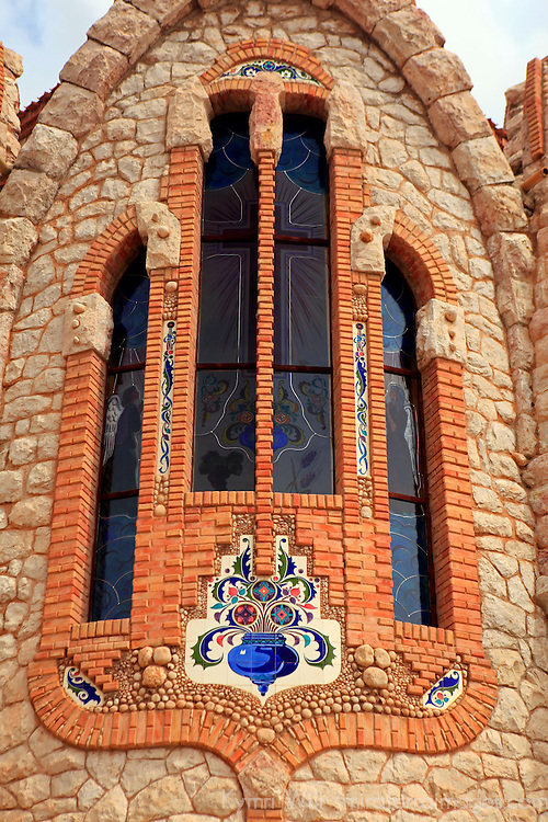 Europe, Spain, Novelda. Stained glass windows and tiles of Santa María Magdalena, built by disciple of Gaudi.