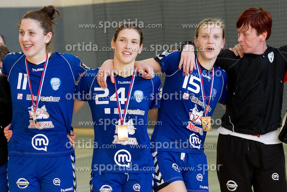 Andrea Seric, Kristina Franic, Barbara Varlec Lazovic and Sergeja Stefanisin of Krim celebrate after the last game of 1st A Slovenian Women Handball League season 2011/12 between ZRK Krka and RK Krim Mercator, on May 8, 2012 in Stopice at Novo mesto, Slovenia. RK Krim Mercator became Slovenian National Champion, GEN-I Zagorje placed second and ZRK Krka placed third. (Photo by Vid Ponikvar / Sportida.com)