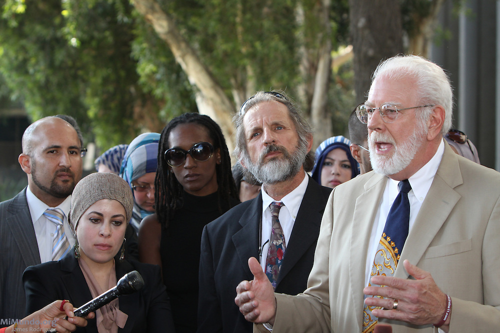 From left to right: Defense attorneys Tarek Shawky, Reem Salahi, Lisa Holder, Dan Stormer and Dan Mayfield after a jury found ten Muslim students from the University of California, Irvine, guilty of disrupting a February 2010 speech at the university's campus by Michael Oren, Israeli ambassador to the United States. Orange County Superior Court Judge Peter Wilson sentenced each student to three years of probation, 56 hours of community service, and ordered each to pay $270 in fines.