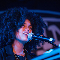 Lisa-Kainde Diaz of Ibeyi performs on stage at King Tuts on November 10, 2015 in Glasgow,Scotland