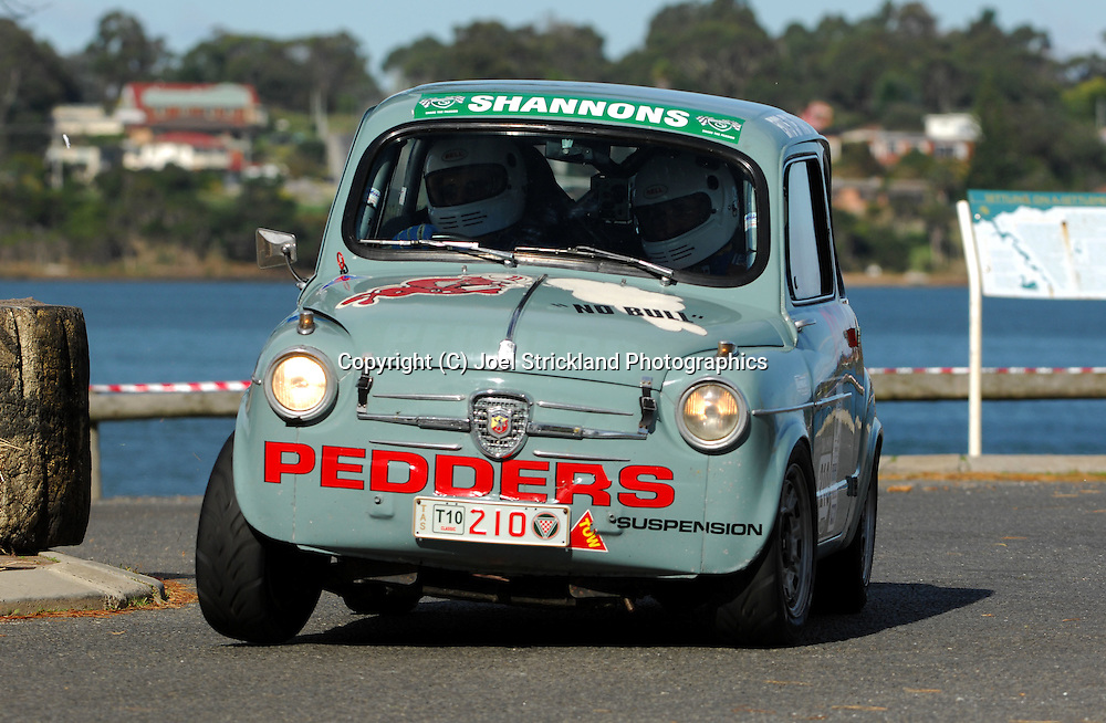 #210 - Jack Waldron & Vin Gregory - 1955 FIAT Abarth 750.Prologue.George Town.Targa Tasmania 2010.27th of April 2010.(C) Joel Strickland Photographics.Use information: This image is intended for Editorial use only (e.g. news or commentary, print or electronic). Any commercial or promotional use requires additional clearance.