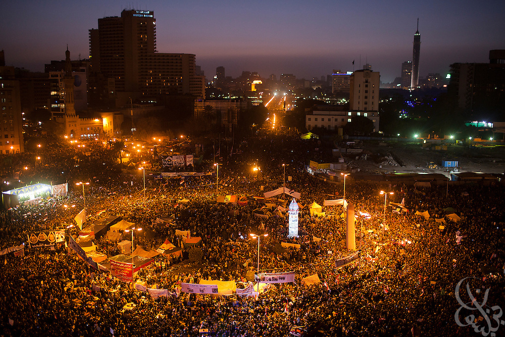 Hundreds of thousands of Egyptian men, women and children, some celebrating, others protesting, join for the one anniversary of the Egyptian revolution in Tahrir Square January 25, 2012 in Cairo, Egypt.