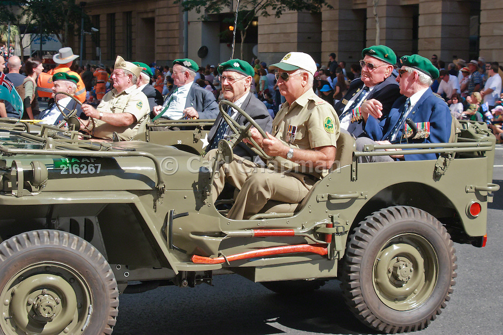 Veterans in jeep in 2005 ANZAC day parade