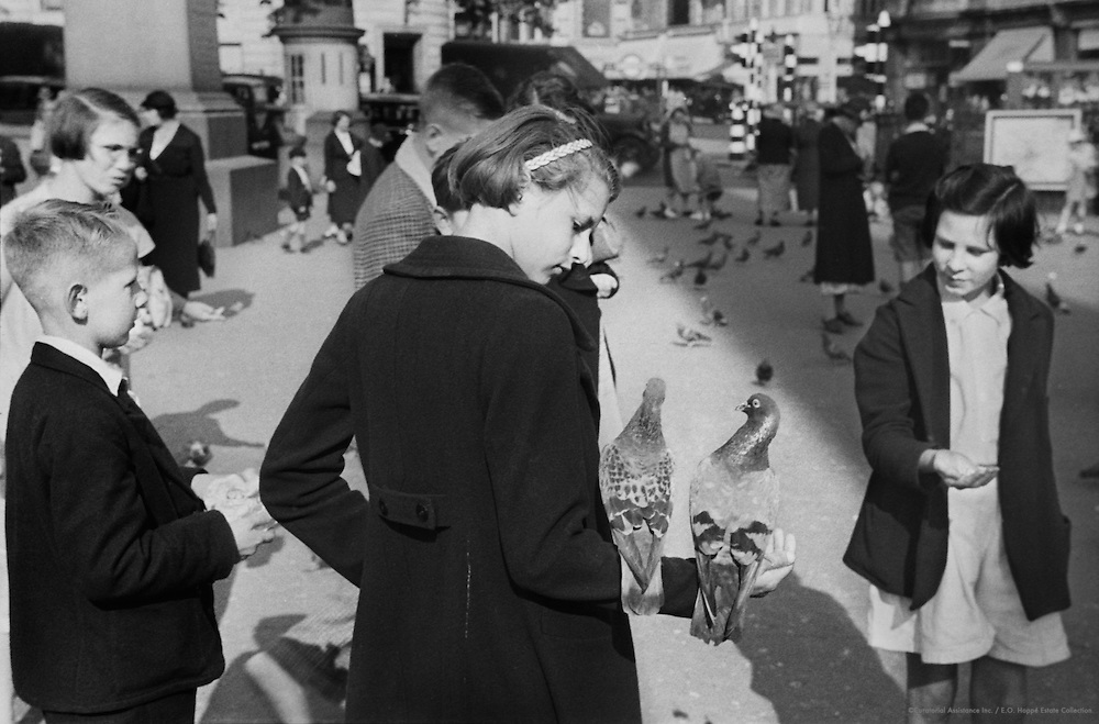 People Feeding Pigeons, London, England, c.1935