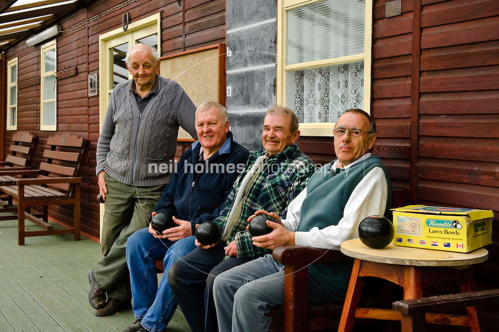 Members of Holme on Spalding Moor Bowling club take a break from ground maintenance. Pictured LtoR Alan Fisher, Eric White, Dennis Cooke, Peter Coates