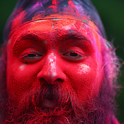 Bakshinder Singh participates in a Holi festival at the Sanatan Dharma Hindu Temple and Cultural Center in Maple Valley on Saturday, March 10, 2012. Holi, the Festival of Colors, is a Hindu festival welcoming spring. It is most well-known for the vibrant bursts of gulal, the powdered dye, that festivalgoers throw on each other. (Joshua Trujillo, seattlepi.com)
