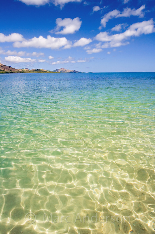 Beautiful crystal clear water around a tropical around in Fiji..