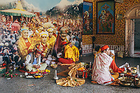 Temple Priests performing rituals on Kullu Dusshera at Lord Raghunath Temple. Kullu Dussehra is the Dussehra festival observed in the month of October in Himachal Pradesh state in northern India. It is celebrated in the Dhalpur maidan in the Kullu valley. Dussehra at Kullu commences on the tenth day of the rising moon, i.e. on 'Vijay Dashmi' day itself and continues for seven days. Its history dates back to the 17th century when local King Jagat Singh installed an idol of Raghunath on his throne as a mark of penance. After this, god Raghunath was declared as the ruling deity of the Valley.